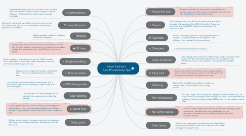 Mind Map: Steve Pavlina's  Best Productivity Tips
