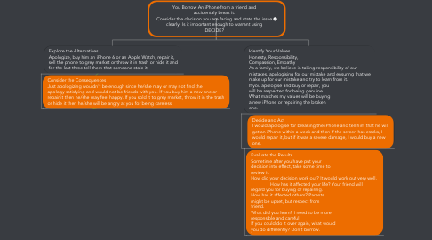 Mind Map: You Borrow An iPhone from a friend and accidentaly break it. Consider the decision you are facing and state the issue clearly. Is it important enough to warrant using DECIDE?