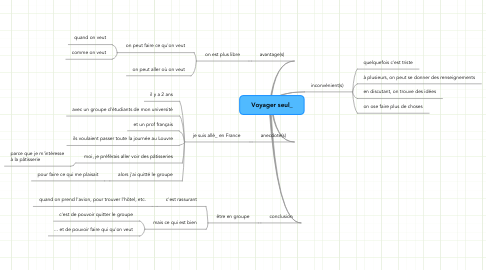 Mind Map: Voyager seul_