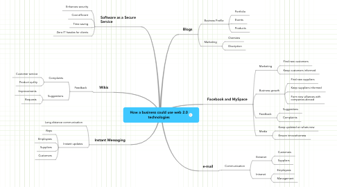 Mind Map: How a business could use web 2.0 technologies