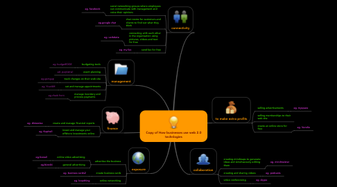 Mind Map: Copy of How businesses use web 2.0 technlogies