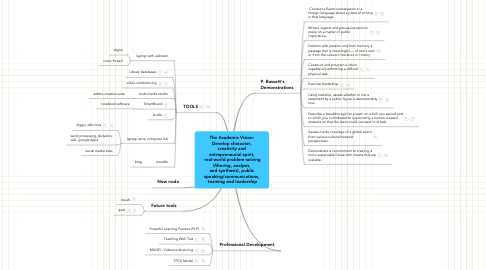 Mind Map: The Academic Vision: Develop character, creativity and entrepreneurial spirit,  real-world problem-solving (filtering, analysis, and synthesis), public speaking/communications,  teaming and leadership