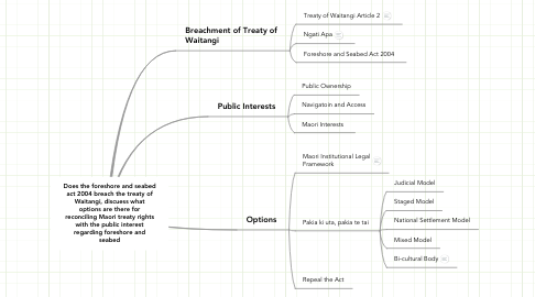 Mind Map: Does the foreshore and seabed act 2004 breach the treaty of Waitangi, discuess what options are there for reconciling Maori treaty rights with the public interest regarding foreshore and seabed