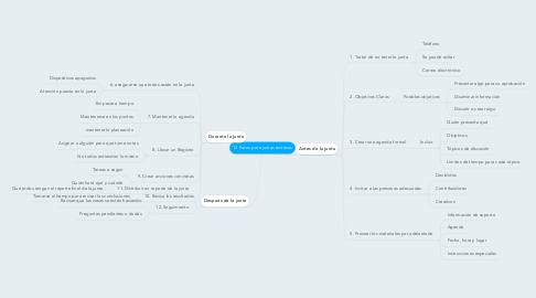 Mind Map: 12 Pasos para juntas exitosas