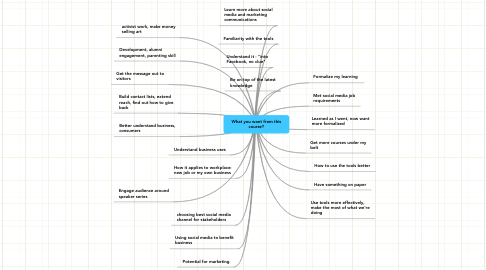 Mind Map: What you want from this