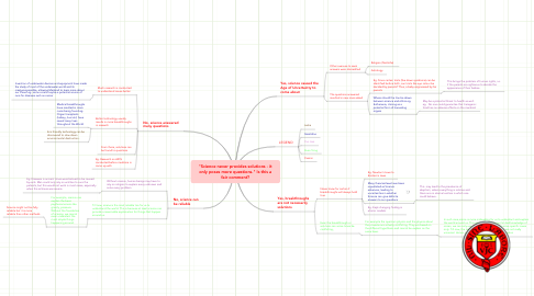 "Mind Map: ""Science never provides solutions - it only poses more questions."" Is this a fair comment?"