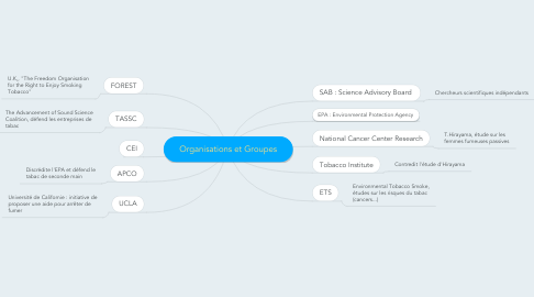 Mind Map: Organisations et Groupes