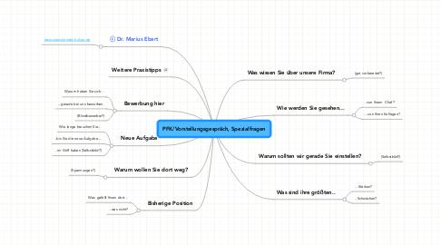 Mind Map: PFK/Vorstellungsgespräch, Spezialfragen