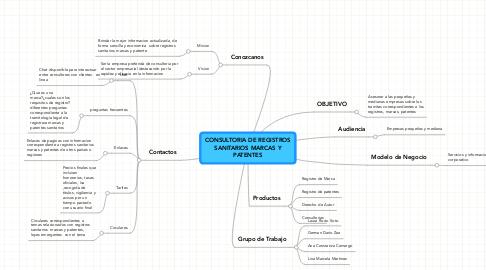 Mind Map: CONSULTORIA DE REGISTROSSANITARIOS MARCAS YPATENTES