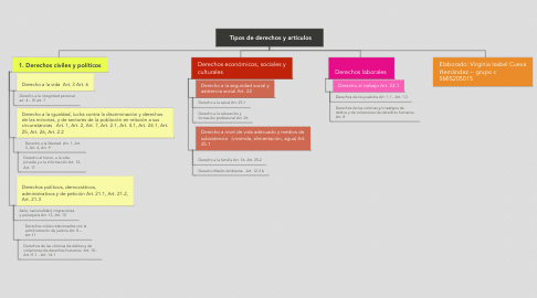 Mind Map: Tipos de derechos y artículos