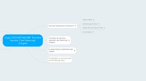 Mind Map: Copy of SCHAFFHAUSER  Pour être heureux il faut beaucoup d'argent
