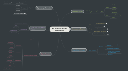 Mind Map: ETCV 530: Introduction to Multimedia