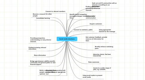 Mind Map: Social media intentions