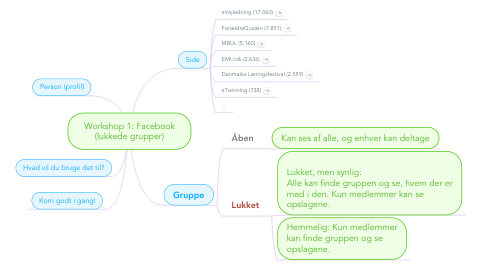 Mind Map: Workshop 1: Facebook (lukkede grupper)