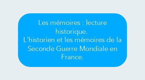 Mind Map: Les mémoires : lecture historique.  L'historien et les mémoires de la Seconde Guerre Mondiale en France.