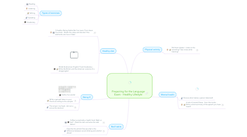 Mind Map: Prepairing for the Language Exam - Healthy Lifestyle