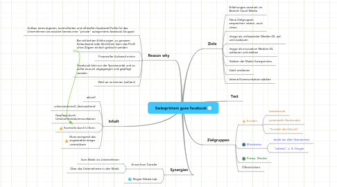 Mind Map: Swissprinters goes facebook