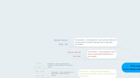 Mind Map: Лексика (синонимы, антонимы,омонимы,паронимы)