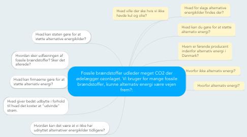 Mind Map: Fossile brændstoffer udleder meget CO2 der ødelægger ozonlaget. Vi bruger for mange fossile brændstoffer, kunne alternativ energi være vejen frem?: