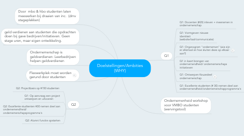 Mind Map: Doelstellingen/Ambities (WHY)