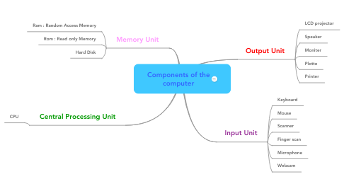 Mind Map: Components of the computer