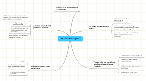 Mind Map: My View of Intelligence