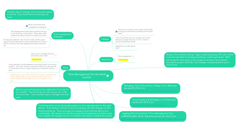 Mind Map: Time Management For the Adult Learner