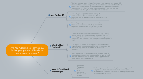 Mind Map: Are You Addicted to Technology? Explain your position. Why do you feel you are or are not?