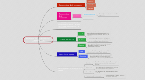 Mind Map: RELACION DEL CEREBRO CON LA PERCEPCION