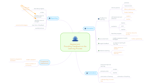 Mind Map: Assessment: Providing Feedback on the Learning Process