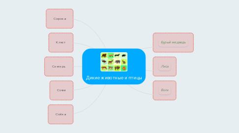 Mind Map: Дикие животные и птицы