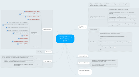 Mind Map: Strategic Planning Focus Group  (Draft)