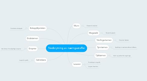Mind Map: Nedbrytning av næringsstoffer