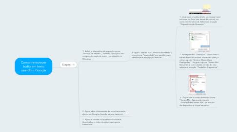 Mind Map: Como transcrever áudio em texto usando o Google