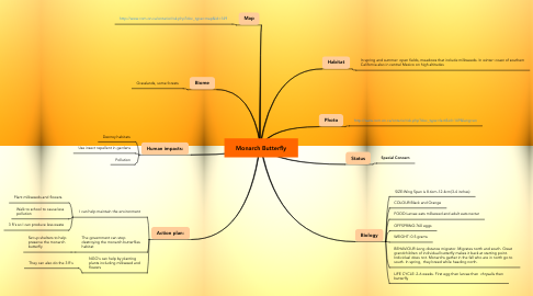 Mind Map: Monarch Butterfly