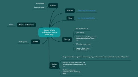 Mind Map: Beluga Whale endangered specie Mind Map