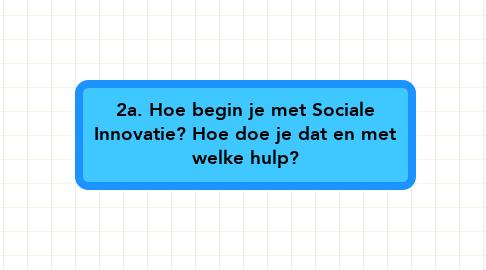 Mind Map: 2a. Hoe begin je met Sociale Innovatie? Hoe doe je dat en met welke hulp?