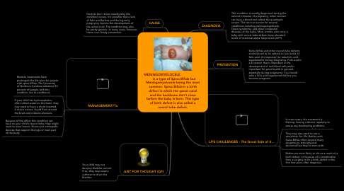 Mind Map: MENINGOMYELOCELE             is a type of Spina Bifida but Meningomyelocele being the most common. Spina Bifida is a birth defect in which the spinal canal and the backbone don't close before the baby is born. This type of birth defect is also called a neural tube defect.