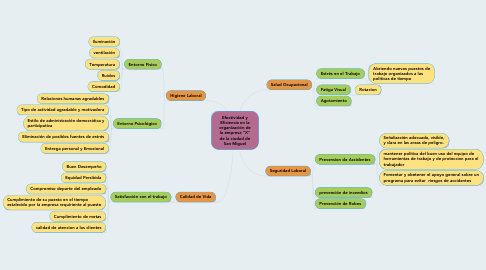 """Mind Map: Efectividad y Eficiencia en la organización de la empresa """"X"""" de la ciudad de San Miguel"""