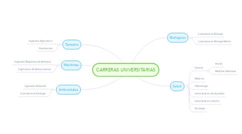 Mind Map: CARRERAS UNIVERSITARIAS