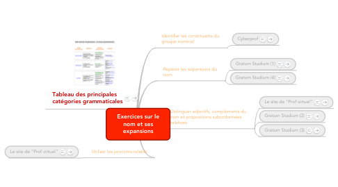 Mind Map: Exercices sur le nom et ses expansions