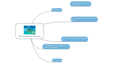 Mind Map: My Favorite Place: Mauritius