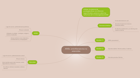 Mind Map: AINEs: antiinflamatorios no esteroides