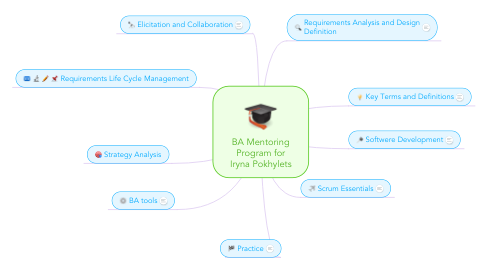 Mind Map: BA Mentoring Program for Iryna Pokhylets