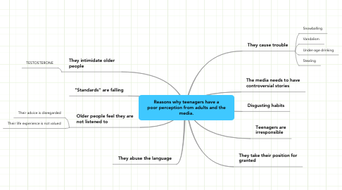 Mind Map: Reasons why teenagers have a