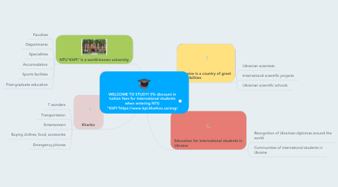 "Mind Map: WELCOME TO STUDY! 5% discount in tuition fees for international students when entering NTU ""KhPI""https://www.kpi.kharkov.ua/eng/"