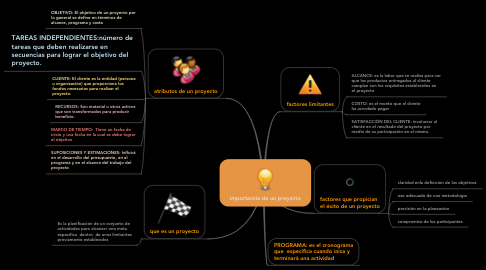 Mind Map: importancia de un proyecto