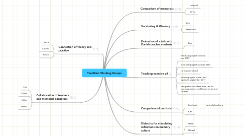 Mind Map: TeacMem Working Groups