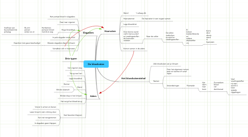 Mind Map: De bloedvaten