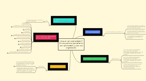 Mind Map: ¿Que es ser emprendedor? Es una persona que detecta una oportunidad y crea una organización.